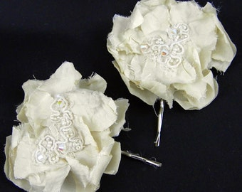 Ivory Silk Hair Pins, Beaded Lace Hairpieces, Vintage Wedding, Eco Freindly Bridal Accessories, Bridesmaids-Set of 2