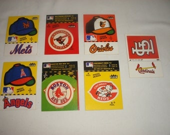 Vintage Baseball Stickers Early 1980's, St. Louis Cardinals, Cinncinnati Reds, Orioles, Red Sox, LA Angels, Mets