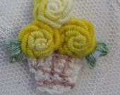 4pc Vintage Chic YELLOW Crochet Basket Bouillion Embroidered Flower Basket Applique Christening Gown Baby Doll Hair Bow