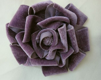 3.5 inch GRAPE Velvet Ribbon Rose Fabric Flower Applique Hat Corsage Pin Baby Pageant Bridal Hair Accessory Applique