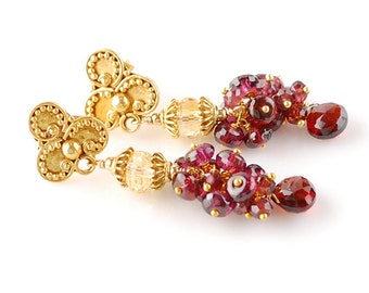 Garnet Earrings, Citrine Earrings, 18K Gold Garnet Earrings, 18K Garnet Earrings, 14K Gold Garnet Earrings, 14K Garnet Earrings