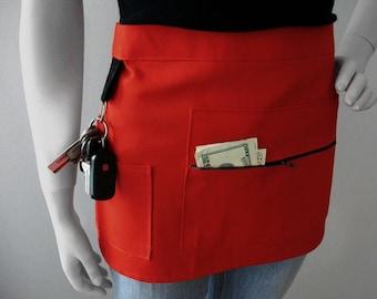 Waitress Apron - RED - Craft Show Apron - Vendor Apron - Half Apron - Hostess Apron