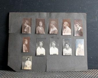 Victorian Era Antique Photographs, Pretty Girls, Vintage Pictures, Page from Photo Album, Paper Ephemera