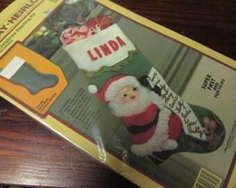 "Vintage Rennoc's Santa's List Felt Stocking Kit 90318 Sealed 18"" Size Christmas Craft Kit"