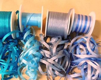 Gorgeous 20 yards of silk ribbon in 5 yard cuts  4 shades of Blue