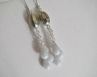 Gray Earrings, Gray Teardrop Dangles, Robins Egg Teardrops, Gray and Silver Long Earrings