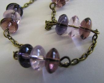 Lavender Purple Necklace, Triangle Necklace, Lavender and Antique Bronze Necklace, Geometric Pyramid