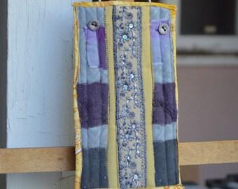 Yellow Purple Gray Abstract Doorknob Hanging Art Quilt - Sequins