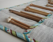 Linen Knitting Needle Case with Striped Cotton Trim - Knitting Needle Roll - Knitting Needle Organizer