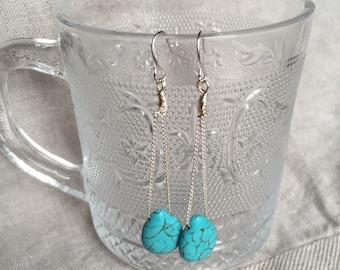 Turqouise Earrings, drop turquoise earrings
