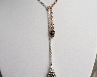 Pinecone Necklace, copper and silver pinecone necklace, charm necklace