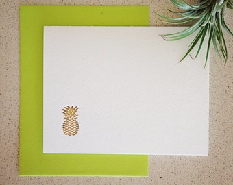 Set of eight gold pineapple letterpress cards