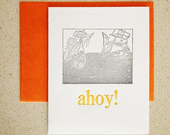 SALE! Ahoy! pirate ship letterpress note card