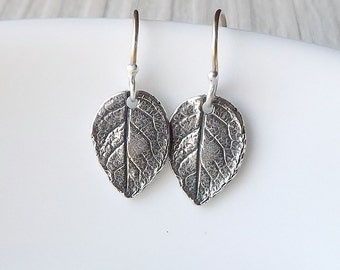 Tiny Silver Leaves Earrings, Small Sterling Leaf Dangles Botanical Earring Nature Jewelry gift under 30