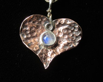 Textured Copper Heart Leaf with Rainbow Moonstone Brutalist Pendant