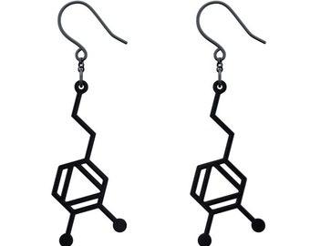 Dopamine Molecule Earrings - Matte Black