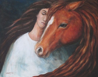 Together Always original painting horse and woman