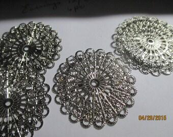 Round Filigree Connectors  6 Stamped Silver  Wraps etc  Round  Wraps