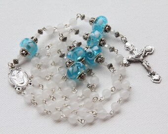 Handmade White and Turquoise Catholic Rosary, Custom Rosary, One of a kind Rosaries,Handmade Jewelry, handmade Catholic Rosaries