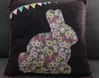 Gray Felt Colorful Bunny & Bunting Accent Pillow
