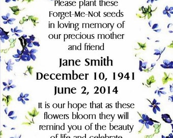 Personalized Memorial Keepsake Remembrance Funeral Seed Packets Forget me Not Design Customized Shipped in 2 Business Days