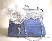 blue bridal clutch, evening bag, wedding clutch, bridal bag, Gatsby, spring wedding, flapper, prom, something blue, maid of honor
