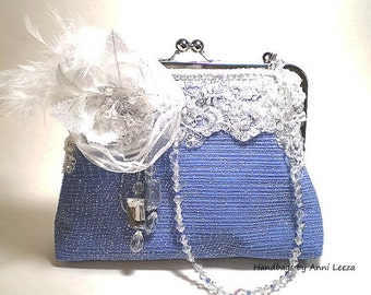 blue bridal clutch, evening bag, wedding clutch, bridal bag, Gatsby, spring wedding, flapper, prom, something blue, maid of honor