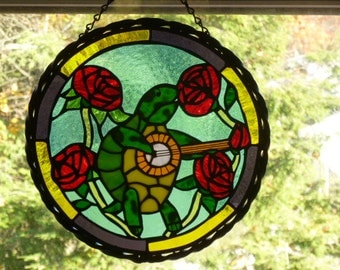 Grateful Dead Inspired Terrapin Station and roses Stained Glass Panel