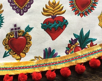 Mexican Tablecloth Sacred Heart Milagros White Red Gold Tie Dye Trim