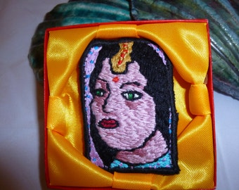 "Brooch Embroidered ""Indian Lady 2""  (57)"