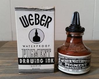 Vintage 1 Oz. Bottle Weber Waterproof Pigment Drawing Ink..Opaque Sepia Brown..Vintage Waterproof Weber Ink..