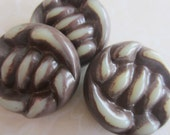 Vintage Buttons - 3 extra large carved  brown braided design, 1940's-1950's celluloid (apr 376)