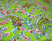 vintage 70s Lime Green Floral & Paisley Print Novelty Fabric 5 Yards