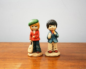 vintage 70s Big Eyed Boy & Girl Bell Bottom Kids Kitsch Figurines // Retro Room Decor