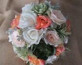 Destination Palm Springs Desert Burlap Rustic Farm Bridal  Realtouch Bouquet Set