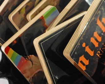 RAINBOW recycled Rising album cover coasters with vinyl bowl