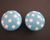 Aqua polka dot Drawer knob
