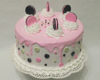 Artificial Cake ~ Fake Cake ~ Display Cake ~ Birthday Photography Prop ~  Birthday  Cake ~  Faux Birthday Cake ~ Birthday Centerpiece Cake