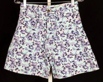 Wet Seal High Waist Floral Denim Shorts 90s S