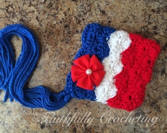 Newborn pixie hat.. July 4th.. Photography prop.. Ready to ship