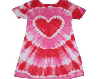 Girls Dress in Red and Pink Tie Dye with a Tie Dye Heart- Girls Valentine's Dress