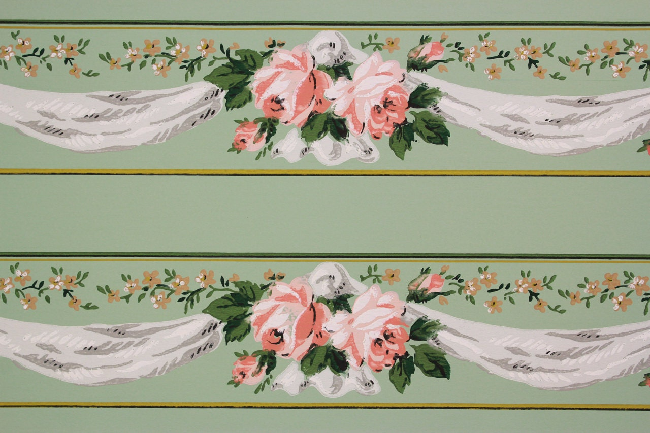 1940s Vintage Wallpaper Border Pink And Yellow Roses With