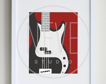 Bass guitar art print, modern music room decoration - available in different sizes and colors