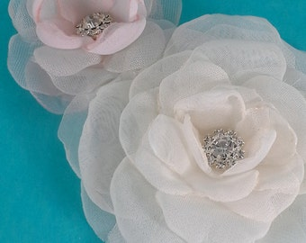 Bridal hair flower set, Ivory Blush, Organza Rose hair set F086- bridal hair accessory