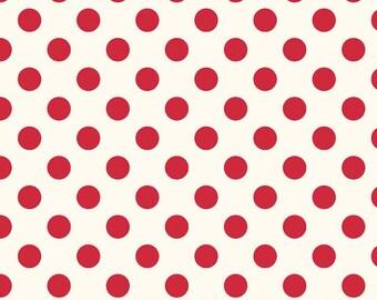 Riley Blake Designs - Medium Red Dots in Cream C620-80