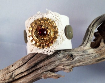 Vintage upcycled linen lace button cuff bracelet boho bohemian shabby chic fall winter hostess gift