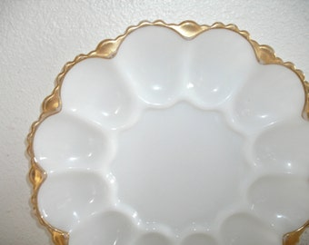 creamy white and gold milk glass egg plate - shabby cottage chic appetizer dish - mid century Easter egg dish -  hollywood regency