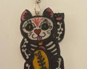 Hand drawn sugar skull kitty tattoo plastic pendant and chain necklace FREE UK SHIPPING