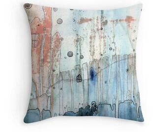 "Throw Pillow Abstract Art Pillow ""Moody City"" Grey Neutral Pillow Cityscape Funky Home Decor Bohemian Decor Urban Decor Boho Style Gypsy Art"