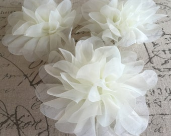 IVORY ORGANZA FLOWER- Three----5 inches wide